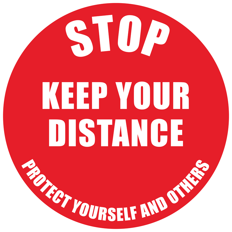Floor Marker - Stop Keep Your Distance, text
