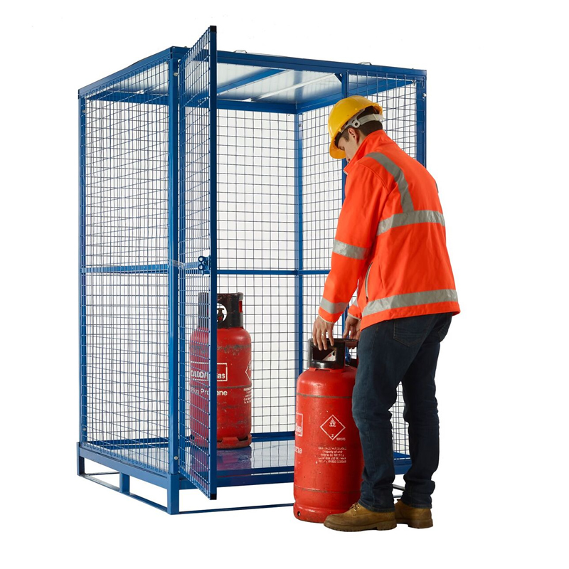 Folding Cylinder Cages with Pallet Base