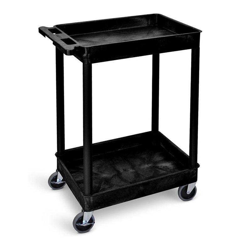 Service Trolley - 2 Storage Trays - Black