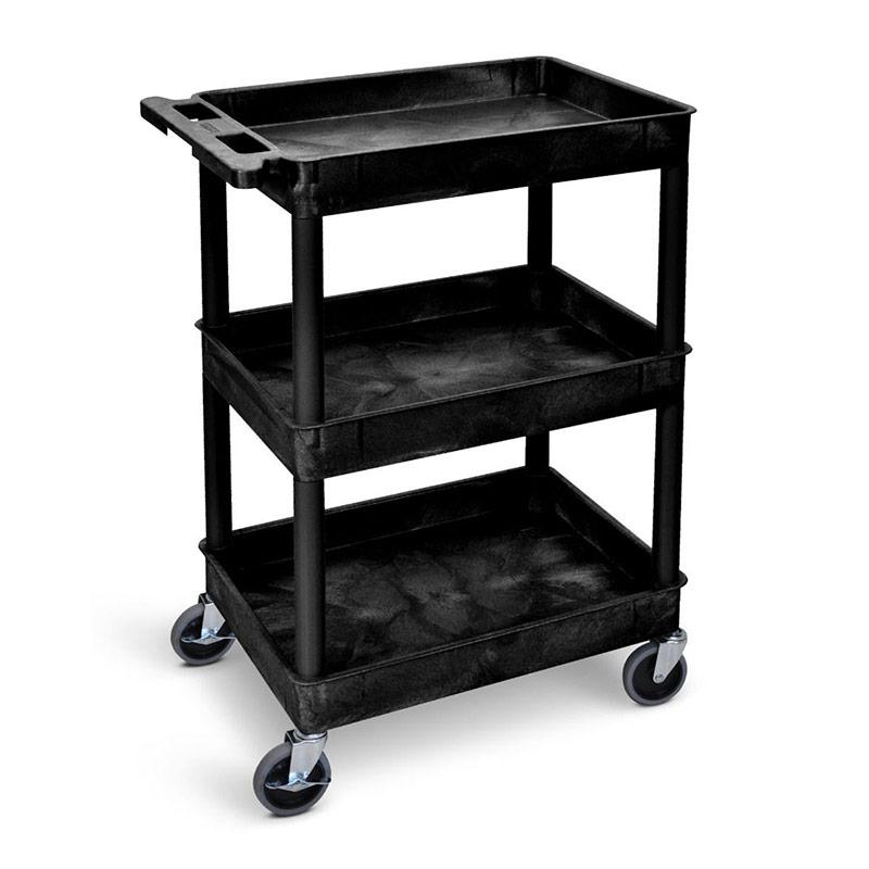 Service Trolley - 3 Storage Trays - Black