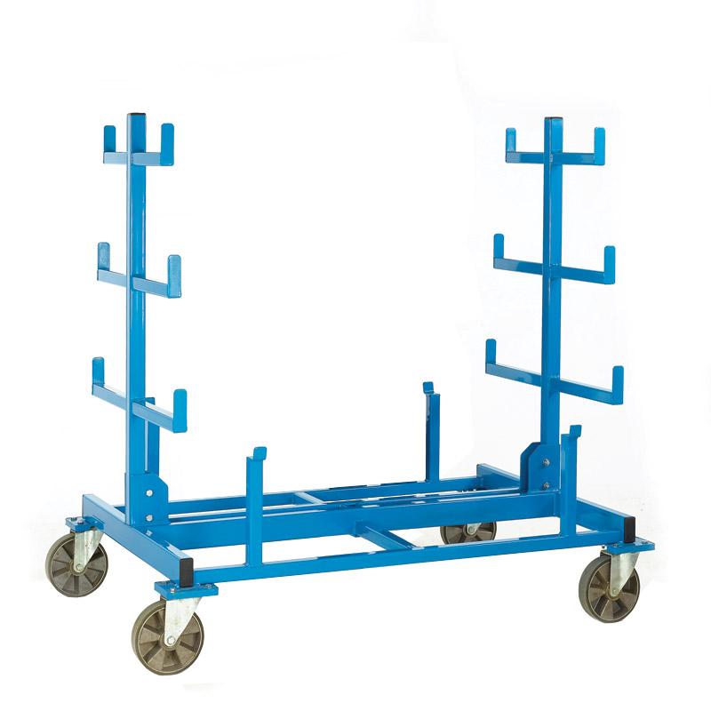 Heavy Duty Mobile Bar Storage Rack - 2 Arms