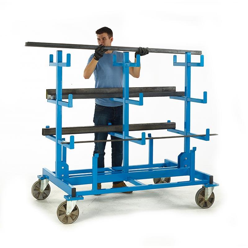 Heavy Duty Mobile Bar Storage Rack - 3 Arms