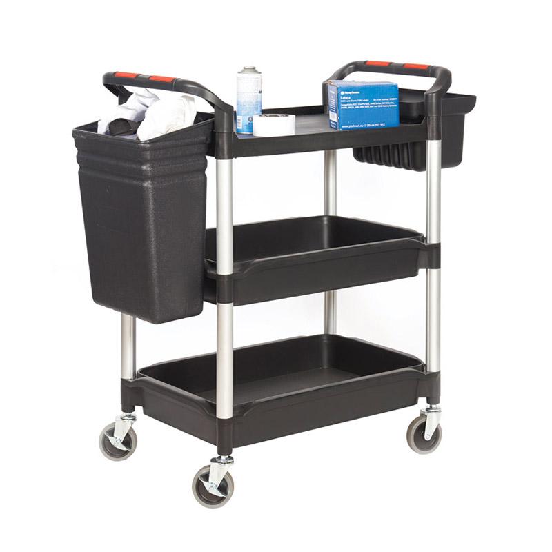 Plastic Deep Tray and Shelf Trolley - 2 Trays and 1 Shelf