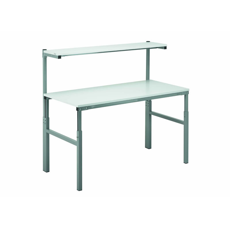Height Adjustable Workbenches with Uprights and Shelf