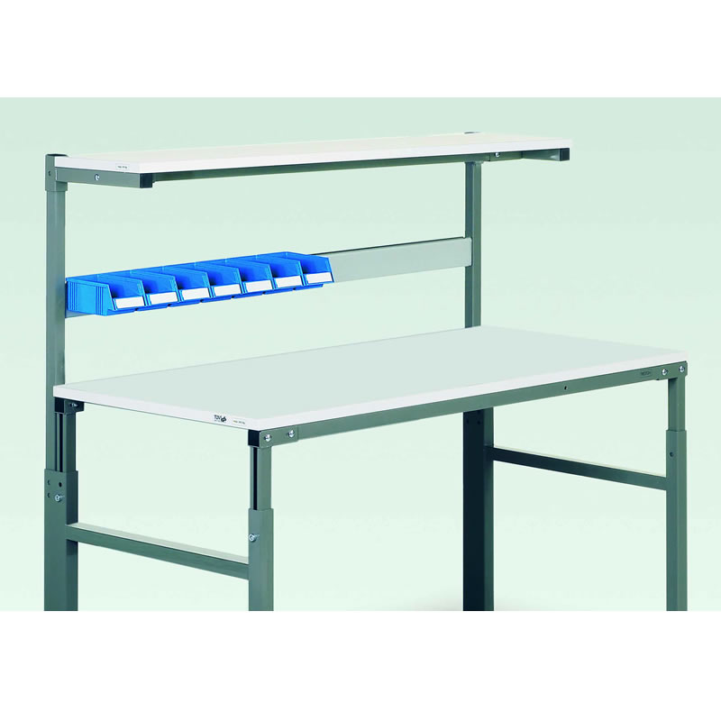 Bin Rails for Workbenches with Uprights and Shelf