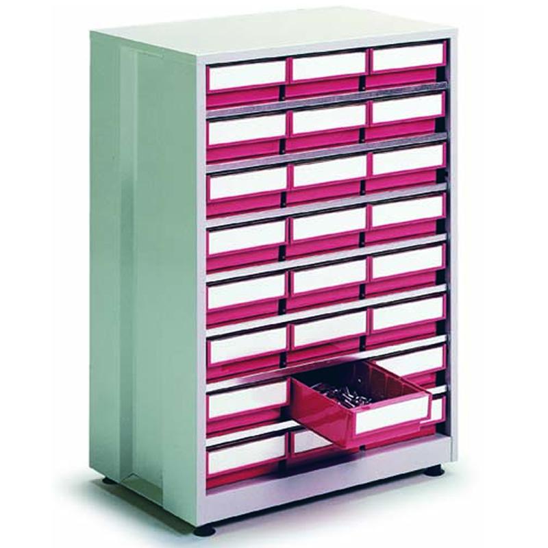 High Density Storage Cabinet - 24 Red Bins