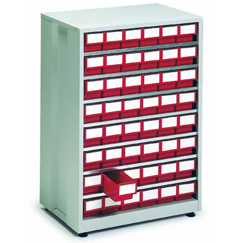 High Density Storage Cabinet - 48 Red Bins