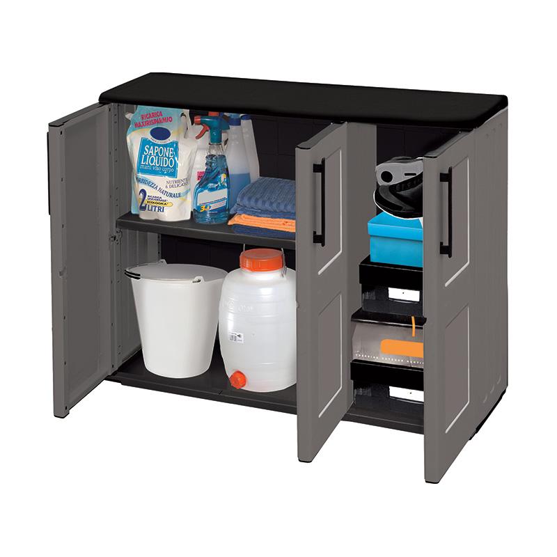 Industrial Utility Compact Cupboard - Triple Door - 1 Shelf