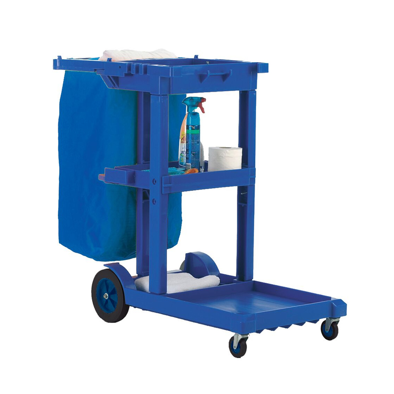 Janitorial Cleaning Trolley with Lid - Blue