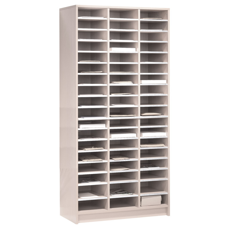 Mail Sorting Shelf Unit - 54 Compartments - White