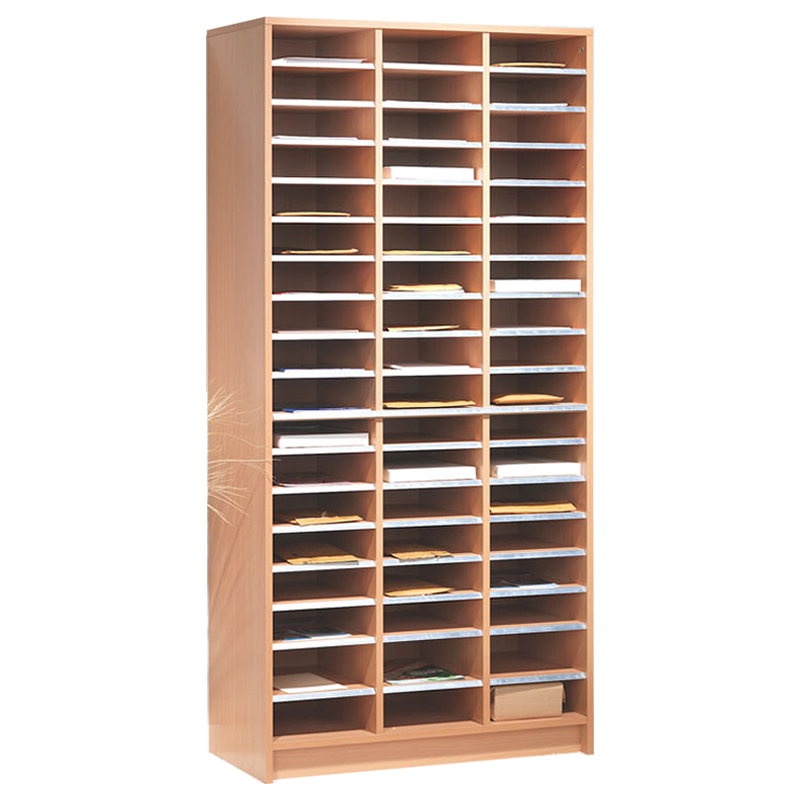 Mail Sorting Shelf Unit - 54 Compartments - Beech