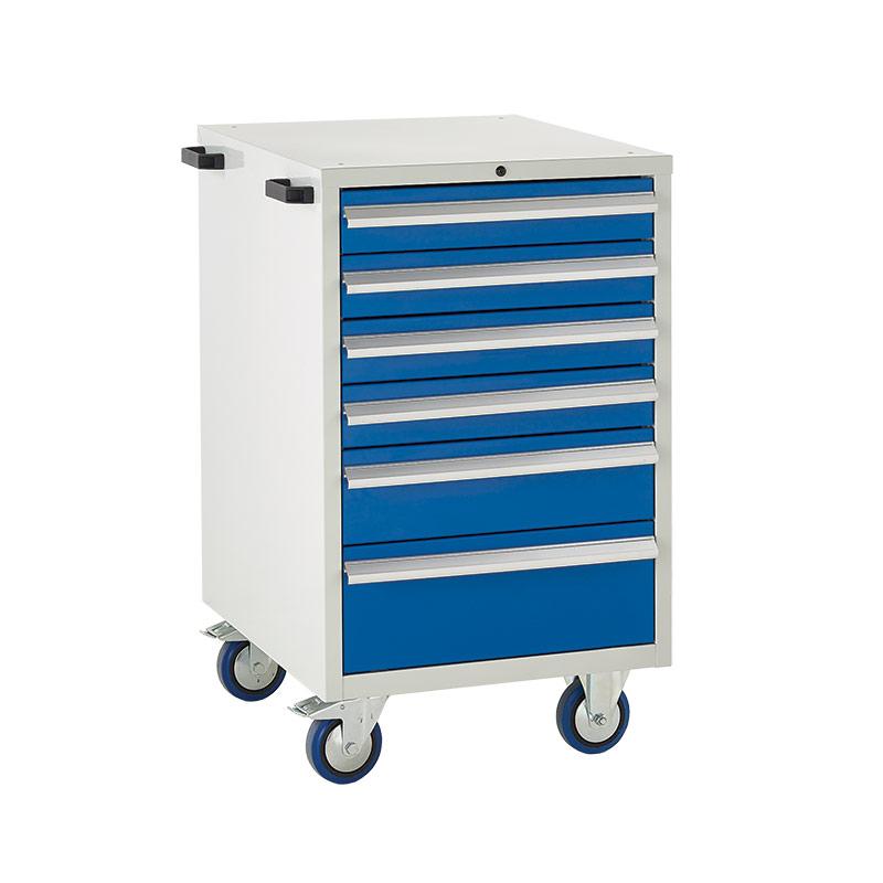 Mobile Euroslide Cabinet - 4 x100mm, 1 x 150mm, 1 x 200mm Drawer
