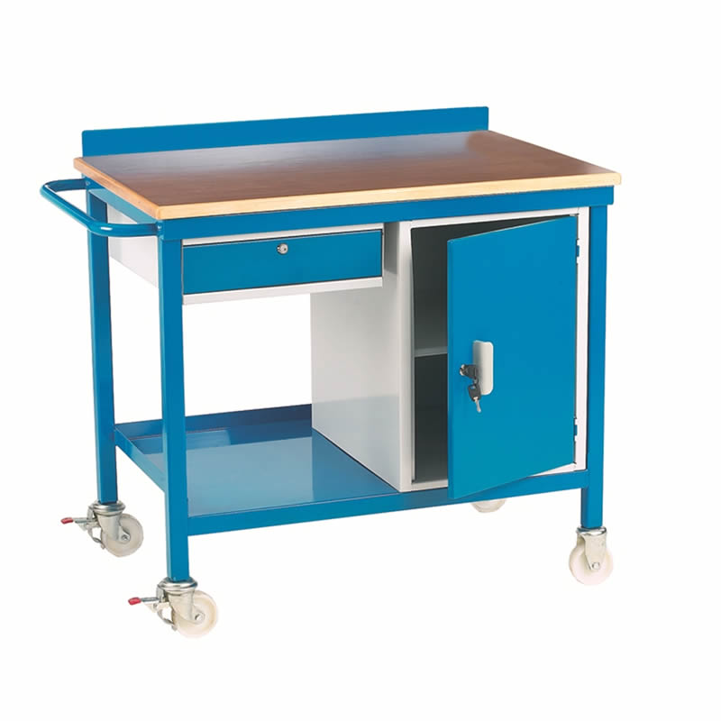 Mobile Workbench with Drawer and Cupboard - Plywood Top