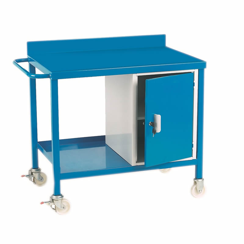 Mobile Workbench with Cupboard - Steel Top