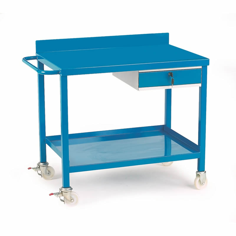 Mobile Workbench with Single Drawer - Steel Top