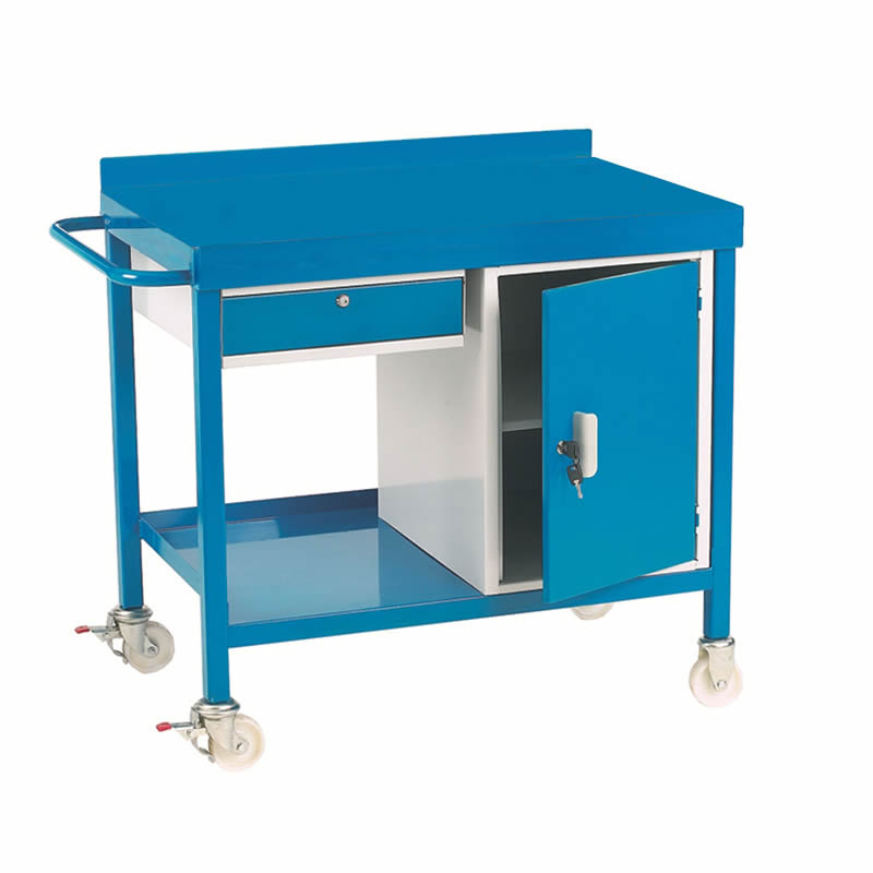 Mobile Workbench with Drawer and Cupboard - Steel Top