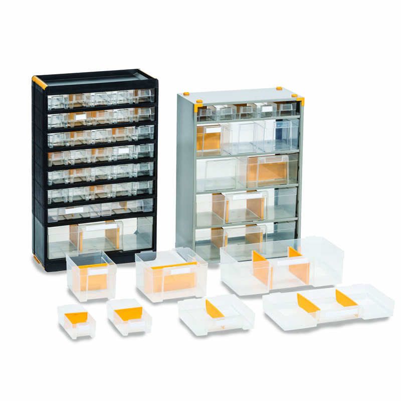 Drawers and Dividers for Multi-Drawer Cabinets
