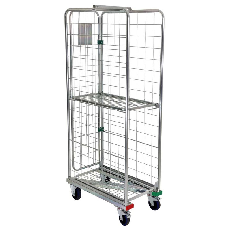 Narrow Aisle Nestable Roll Container - 3 Sided with Z Base