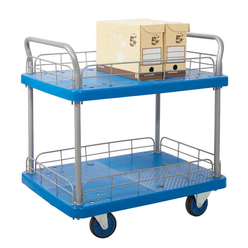 Proplaz Blue - Two Tier Trolley with Wire Surround