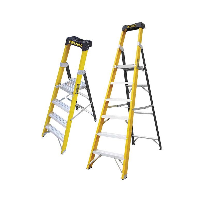 Glass Fibre Platform Stepladders with Tool Tray