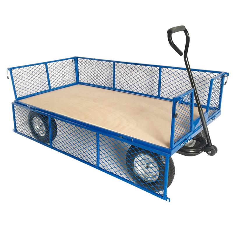 Platform Truck - REACH Wheels - Plywood Base - Mesh Sides