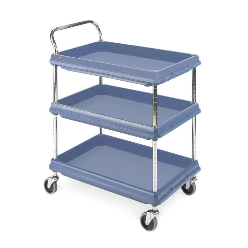 Hygienic Polymer Deep Ledge Trolleys - 3 Shelves