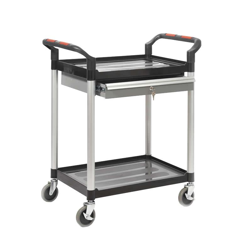 Plastic  Shelf Trolley - 2 Shelf with Lockable Drawer