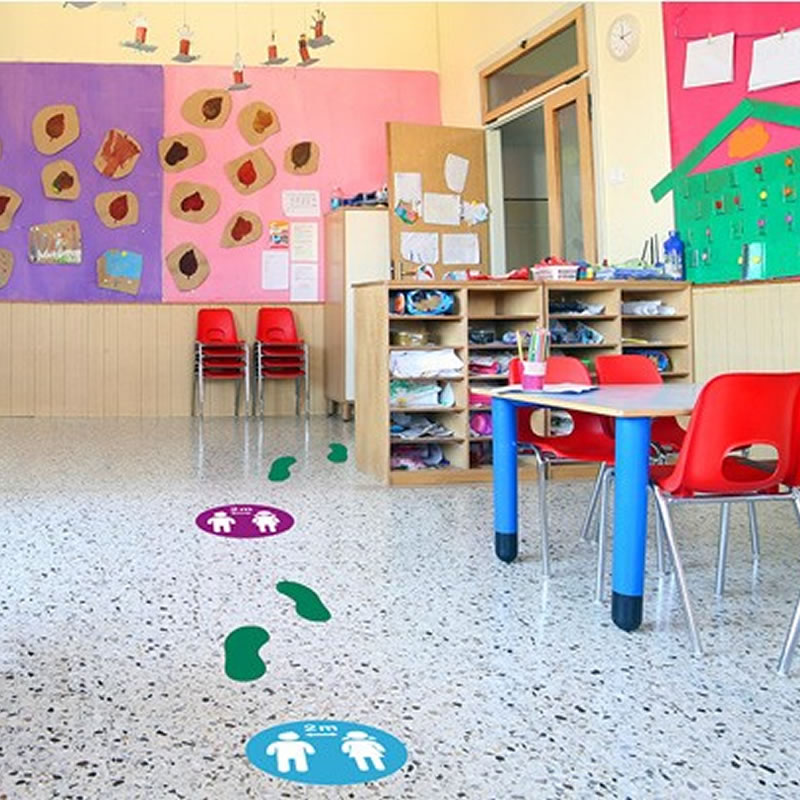 School Floor Markers - Please Keep 2m Distance - Graphic