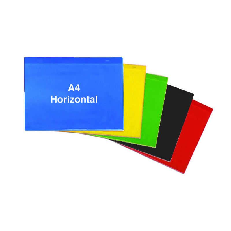 Self Adhesive Rainbow Pockets - A4 Horizontal - Packs of 10