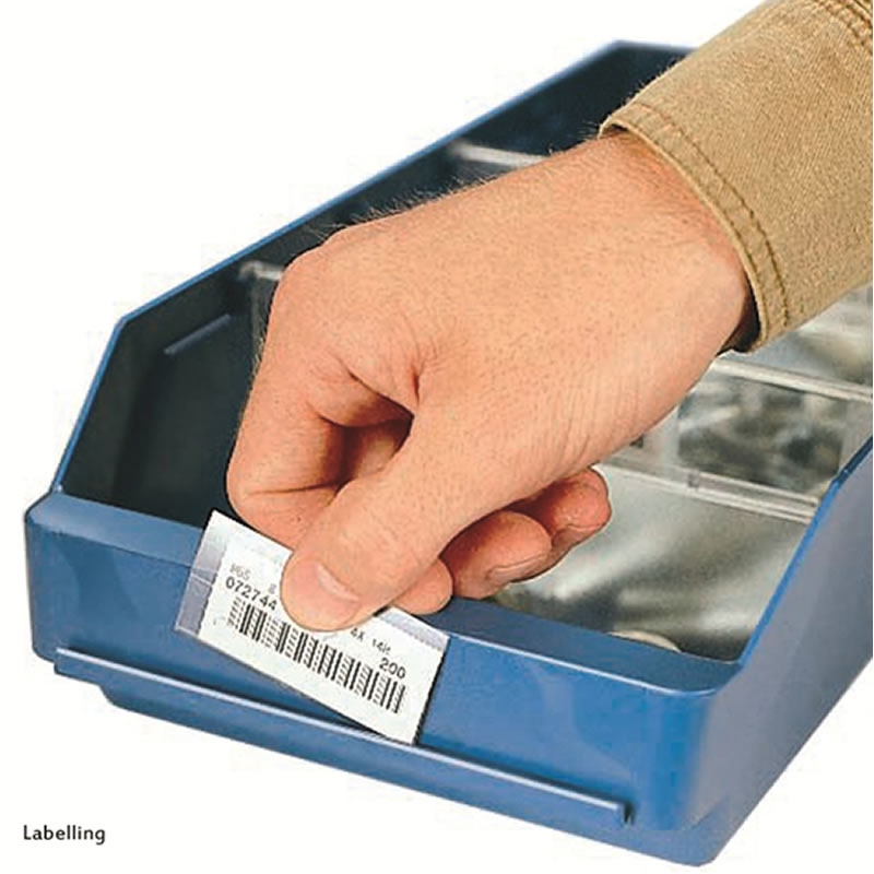 Labels (with holder) for Shelf Bins - Pk 200