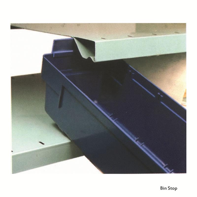 Bin Stops for Shelf Bins