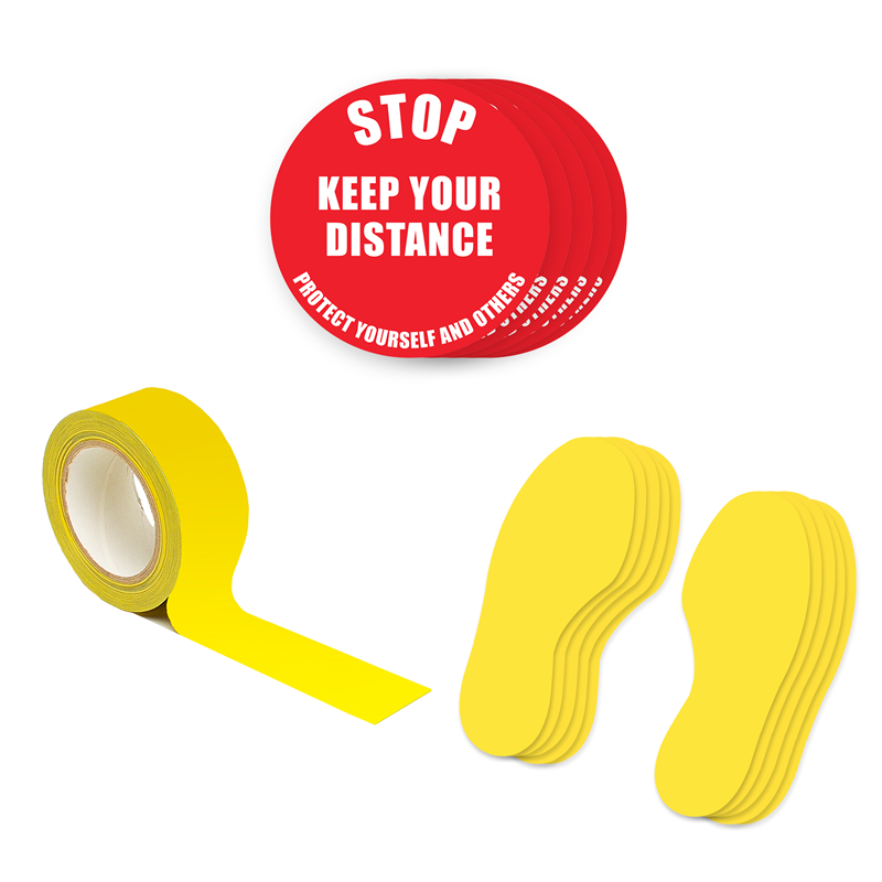 Floor Marking Kit 1A - Stop Keep Your Distance, text