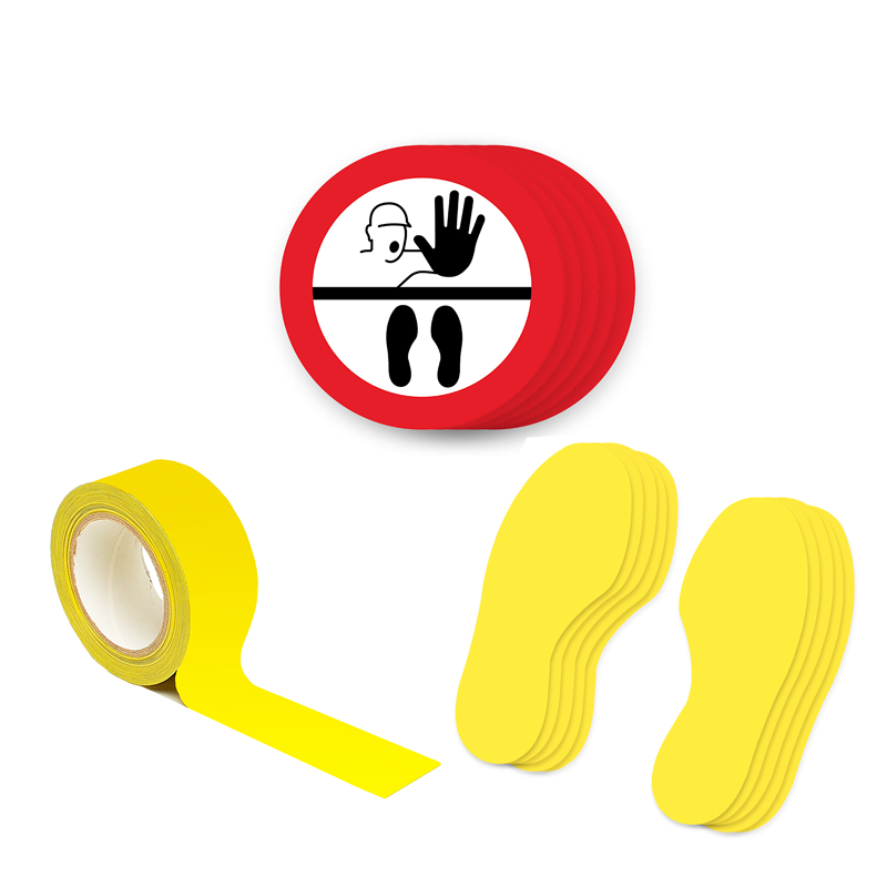 Floor Marking Kit 1B - Stop Keep Your Distance, graphic