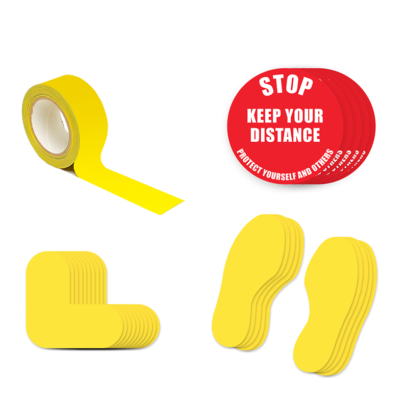 Floor Marking Kit 2A - Stop Keep Your Distance, text