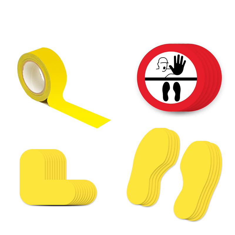 Floor Marking Kit 2B - Stop Keep Your Distance, graphic