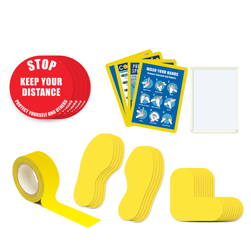 Floor Marking Kit 3A - Stop Keep Your Distance, text