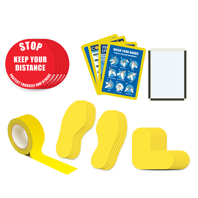 Floor Marking Kit 4A - Stop Keep Your Distance, text