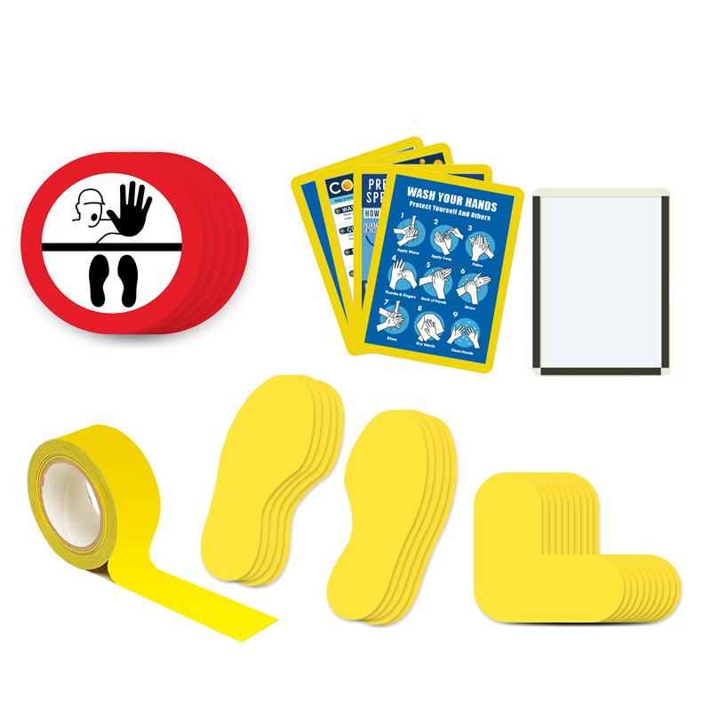 Floor Marking Kit 4B - Stop Keep Your Distance, graphic