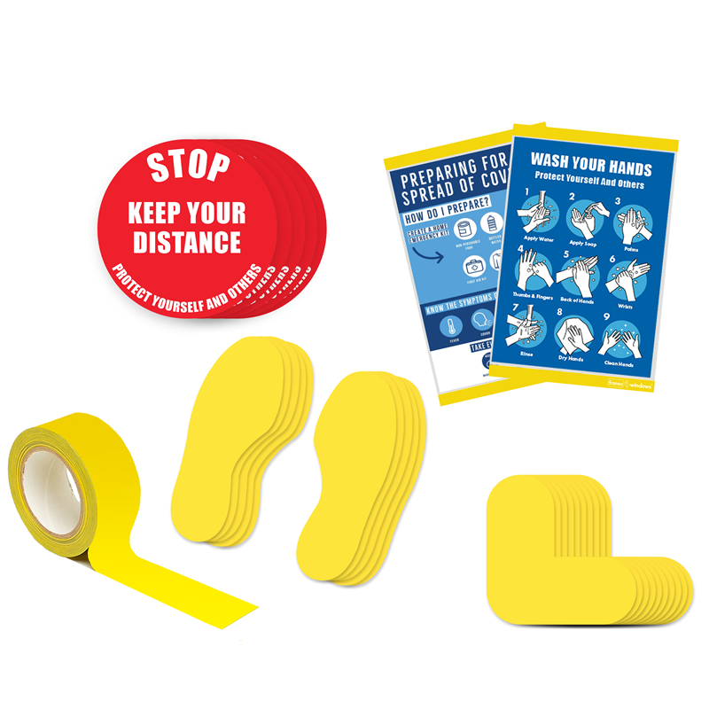 Floor Marking Kit 5A - Stop Keep Your Distance, text