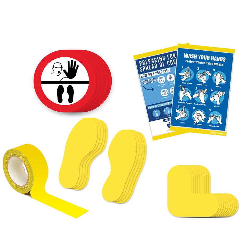Floor Marking Kit 5B - Stop Keep Your Distance, graphic