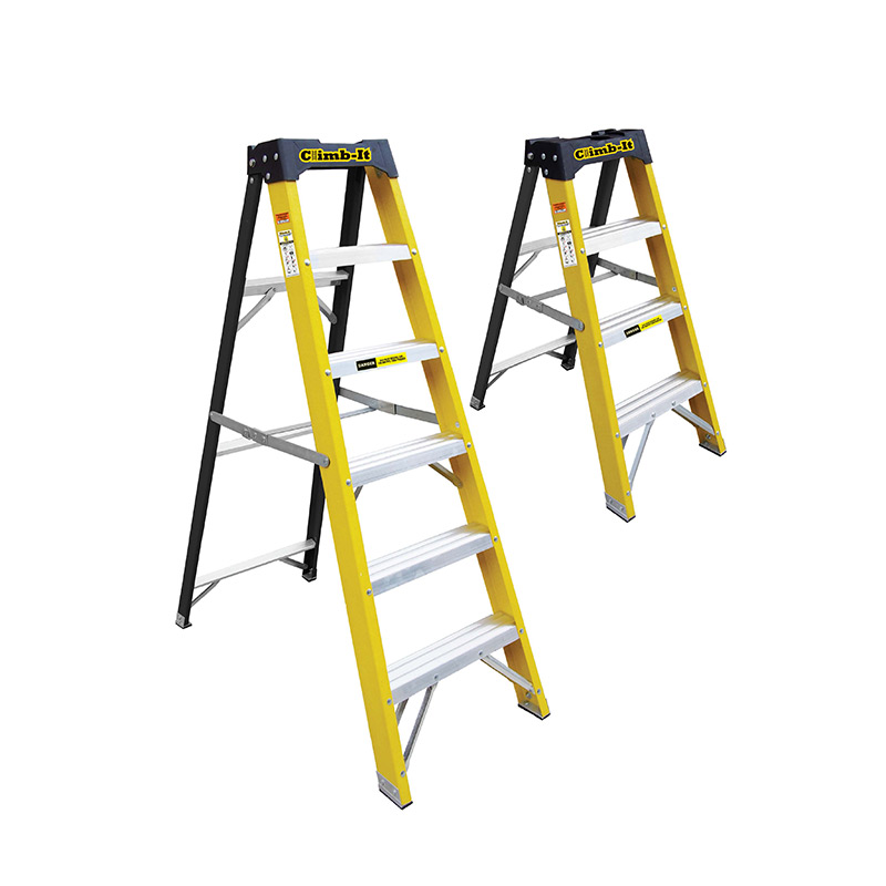 Glass Fibre Swingback Stepladders with Tool Tray