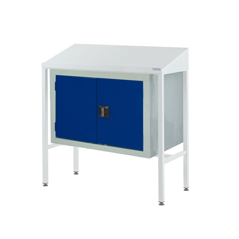 Team Leader Workstations with Double Cupboard - Sloping Top