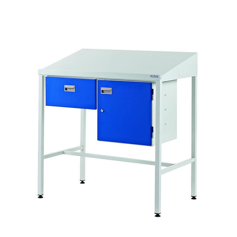 Team Leader Workstations - Sgle Drawer & Cupboard - Sloping Top