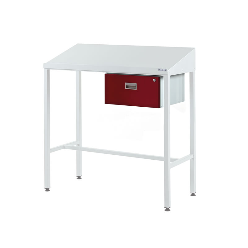 Team Leader Workstations with Single Drawer - Sloping Top