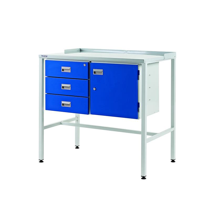 Team Leader Workstations - Triple Drawer & Cupboard - Flat Top