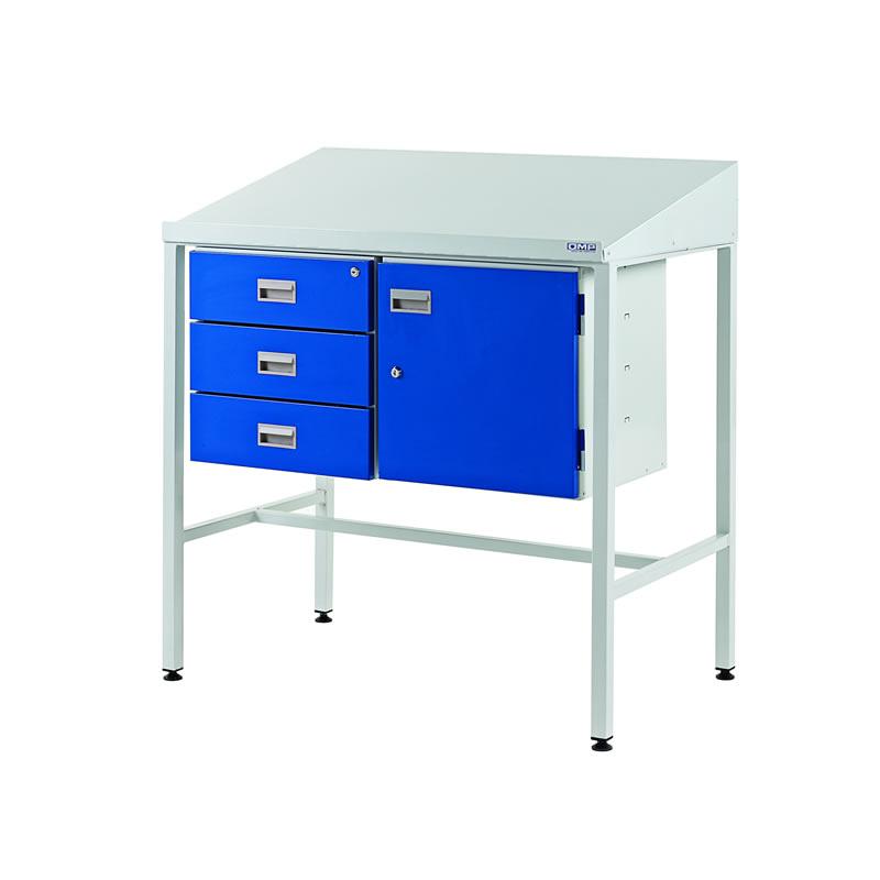 Team Leader Workstations - Trple Drawer & Cupboard - Sloping Top
