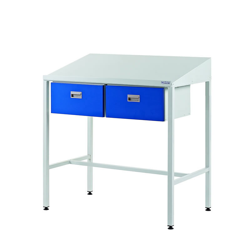 Team Leader Workstations with Two Single Drawers - Sloping Top
