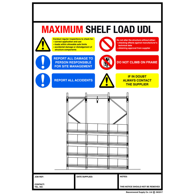 Weight Load Notice for Carton Live Storage - 356mm x 254mm