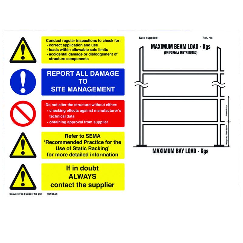 Weight Load Notice for Pallet Racking - Landscape - 297mm x 420m