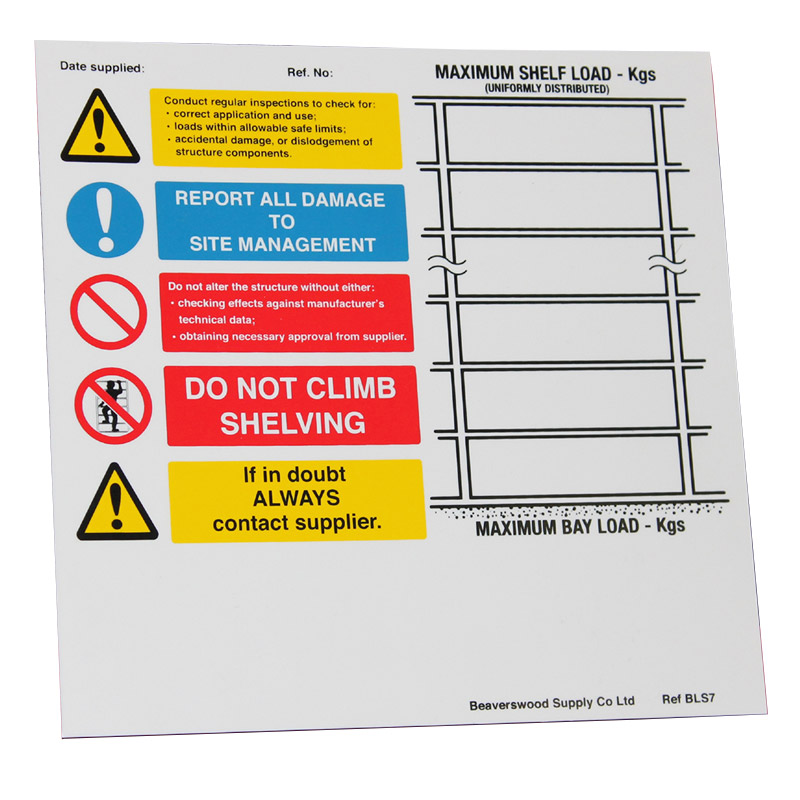 Weight Load Notice for Shelving - Landscape - 215mm x 220mm